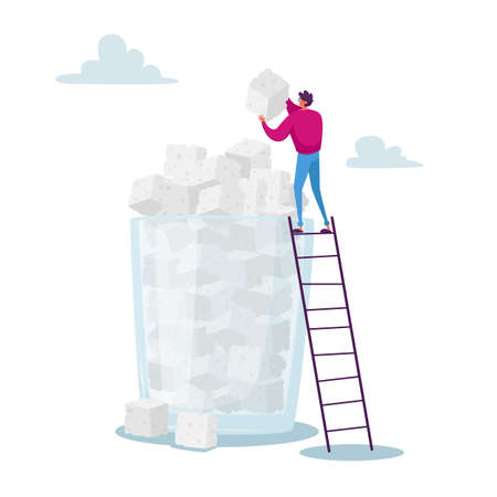Sugar Addiction Concept. Tiny Character Stand on Ladder Put Sugar Cube on Top of Huge Pile in Glass. Overdose Glucose