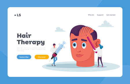 Hair Loss or Receding Landing Page Template. Tiny Doctor Characters Prepare Huge Head for Hair Transplantation Procedure