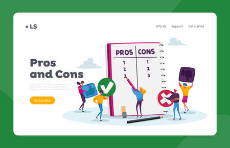 People Make Important Decision Landing Page Template. Tiny Characters at Huge Notebook Sheet Writing Pros and Cons