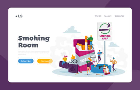 Smokers in Smoking Area Landing Page Template. Tiny People Smoke near Huge Cigarettes Box and Lighter in Public Place Vektorgrafik