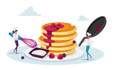 Tiny Male and Female Characters in Chef Toques with Huge Whisk and Cooking Pan Cook Pancakes. Meal for Family, Culinary