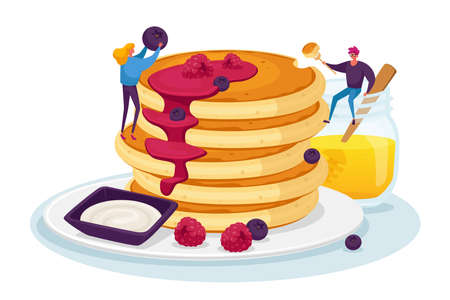 Tiny Male and Female Characters Pouring Huge Stack of Fresh Hot Pancakes with Honey and Decorate with Fresh Berries