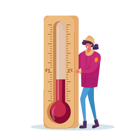 Cold Weather Concept. Freezing Female Character Wearing in Warm Winter Clothes Stand at Huge Thermometer, Freeze Vektorgrafik