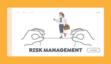 Risk Management Landing Page Template. Businesswoman Character Balancing on Rope Hanging Between Huge Hands