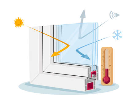Window Pvc Profile Cross Section View, Infographics Presenting Modern Technology, Plastic Glass Reflecting Cold and Heat