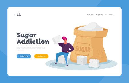 Overdose Glucose Eating Problem, Sugar Addiction Landing Page Template. Tiny Male Character Sitting at Huge Sugar Sack Ilustração Vetorial