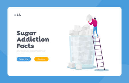 Sugar Addiction, Overdose Glucose Eating Problem Landing Page Template. Tiny Male Character Put Sugar Cube on Top