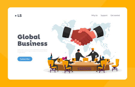 International Negotiations, Political Meeting at Round Table Landing Page Template. Delegates Solving World Issues