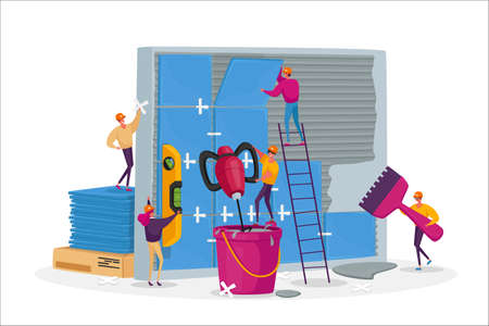 Construction, Home Renovation Works, Tiny Workers Male Female Characters Laying Huge Ceramics on Wall. Repairman Service Ilustración de vector