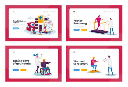 Rehabilitation Landing Page Template Set. Tiny Characters at Huge Medic Things. Rehab Clinic, Patients Exercising, Sport