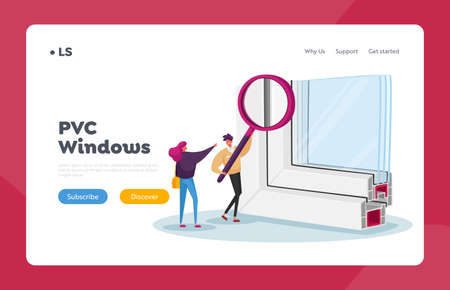 Modern Industrial or Home Technologies Landing Page Template. Tiny Characters Looking on Sample of Pvc Window Profile