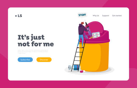 Stop Addiction Landing Page Template. Male Character Fight with Bad Habits, Tiny Man Throw Out Huge Syringe with Drug