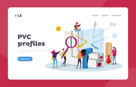Pvc Window Profile Installation Landing Page Template. Tiny Characters at Huge Vinyl Frame with Thermometer