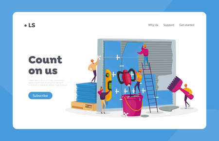 Construction and Home Renovation Works Landing Page Template. Tiny Workers Characters Laying Huge Ceramics on Wall