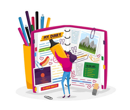 Tiny Girl Character at Huge Diary Writing Notes, Memoirs, Planning Deals, Filling To Do List, Put Stickers and Pictures