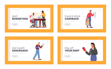 Characters Shocked with High Price Landing Page Template Set. Upset People Look on Bills Surprised with Expensive Cost Ilustración de vector