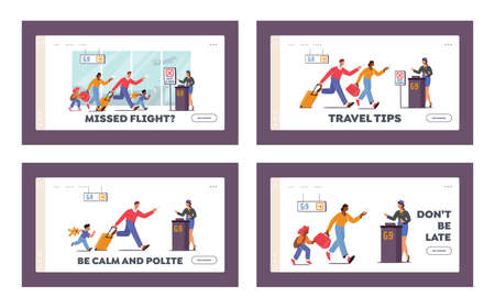 Family with Kids Late for Boarding Plane Landing Page Template Set. Worried People Run with Bag Upset with Missed Flight Vektorové ilustrace