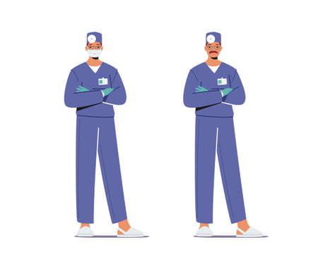 Male Doctor in Blue Medical Robe with Head Mirror Wear Mask Stand with Crossed Arms. Clinical Medicine Profession 일러스트