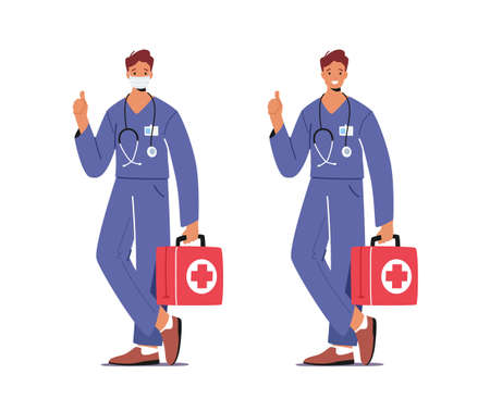 Doctor or Nurse Male Character in Robe with Medical Tools in Box Wear Mask Help Diseased Patient in Crisis. Medicine Job