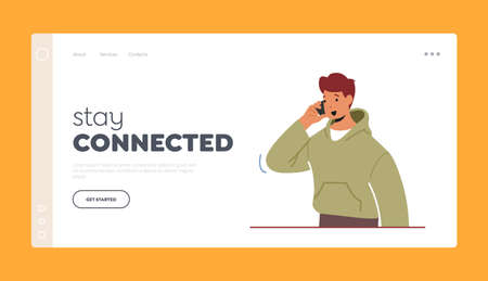 Mobile Connection, Communication Concept for Landing Page Template. Teenager Student Male Character with Smartphone