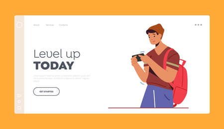 Gadget Addiction, Gaming Hobby Landing Page Template.Teenager Student Male Character Looking on Screen Gaming, Messaging