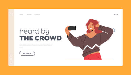 Girl Teenager Making Selfie on Smartphone Landing Page Template. Woman Character Posing and Photographing on Mobile 일러스트