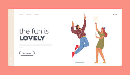 Celebration Landing Page Template. People in Festive Hats with Wine Glasses and Sparklers in Hands Celebrating Holiday