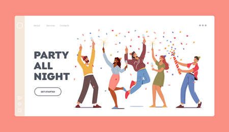 Festive Event Landing Page Template. Young Characters Hold Wine Glasses and Sparklers Celebrating Holiday, Drink Alcohol