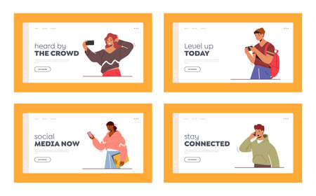 Youth Characters with Phones, Teens Smartphone Communication Landing Page Template Set. Young People Chatting, Texting 일러스트