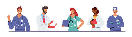 Doctor Characters in Medical Robe in Row. Hospital Healthcare Staff with Stethoscope, Medic Box Notebook, Physician 일러스트
