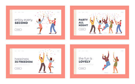 Festive Event Landing Page Template Set. Young Characters Hold Wine Glasses and Sparklers Celebrating Holiday, Drink