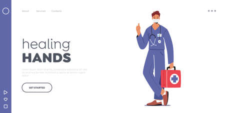 Doctor or Nurse Landing Page Template. Male Character in Robe with Medical Tools in Box in Mask. Clinic, Hospital Staff