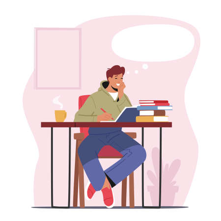 Happy Male Character Dreaming Sit in Thoughtful Pose at Working Desk with Books Pile and Steaming Coffee Cup