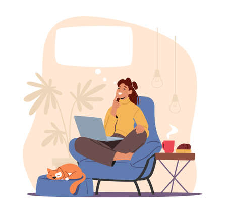 Happy Female Character Dreaming in Thoughtful Pose at Armchair with Notebook, Sleeping Cat and Steaming Coffee Cup Vector Illustration