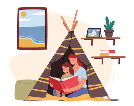 Mother Reading with Little Daughter Sitting in Toy Wigwam in Kids Room. Happy Family Characters Spending Time Together
