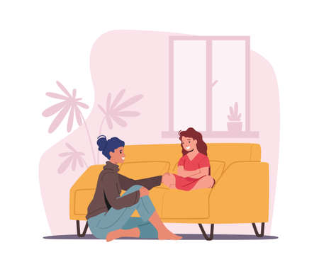 Mother and Daughter Sitting on Sofa in Living Room Telling Secrets. Mom and Girl Talking, Parent Character Support Child Vektorgrafik