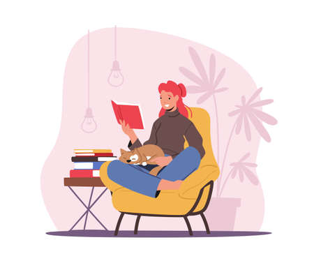 Education, Reading Hobby Concept. Relaxed Woman Character Sitting in Comfortable Armchair with Cat on Kneels Read Book