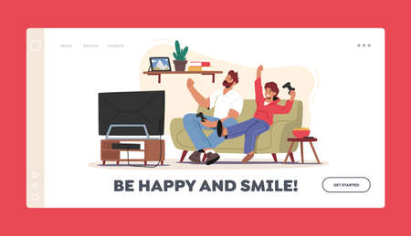 Little Boy with Dad Playing Video Games Landing Page Template. Happy Characters Sitting front of Tv Set with Joysticks