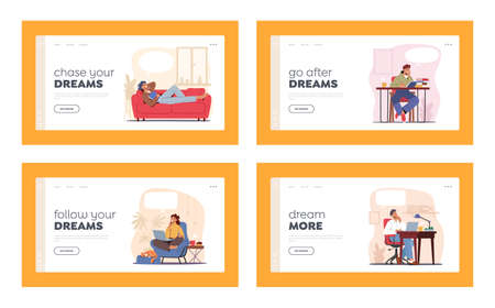 Dreaming Characters, Thoughtful People Smiling Landing Page Template Set. Happy Men Women Work in Office, Study or Relax