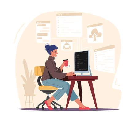 Programming Concept. Woman Programmer Make Site or Web Interface Project. Female Character Website Designer, Developer Vetores