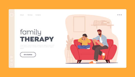Angry Dad Character Sit on Couch Scold Son Landing Page Template. Offended Boy Closing Ears with Hands Ignore Father