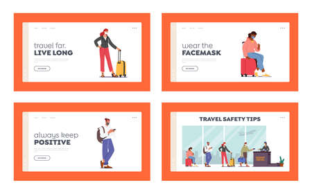 Airport Passport Control. Landing Page Template Set. Passengers Characters in Masks Stand in Queue Prepare for Flight