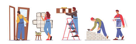 Set of People Work on Home Repair Installing Door, Window, Tiling Wall, Hanging Shelf and Laying Brick, Renovation