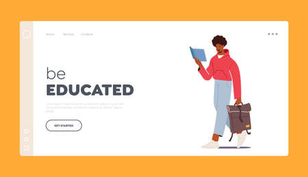 Be Educated Landing Page Template. Young Man Student Character with Bag Reading Book. College or University Education
