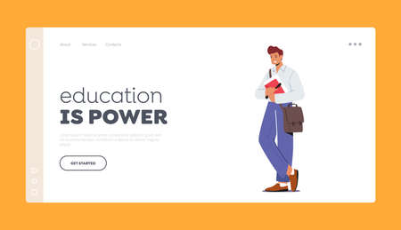 Education is Power Landing Page Template. Young Man Student Character with Bag on Shoulder Holding Book, Learning