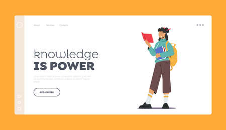 Knowledge is Power Landing Page Template. Young Woman Student with Backpack Holding Books Pile, Prepare to Exam