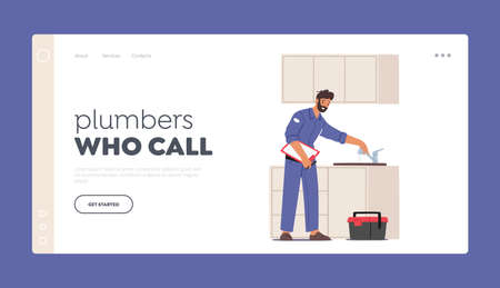 Plumber Call Master Fix Sanitary, Plumbing Work Landing Page Template. Handyman Character Fixing Broken Sink 일러스트