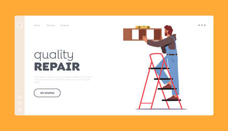 Furniture Assembly Service, Quality Repair Landing Page Template. Carpenter Worker with Level Tool Hanging Shelf on Wall