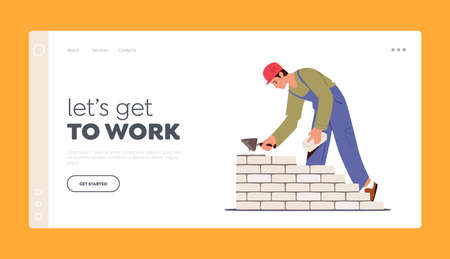 Brickwork, Building Landing Page Template. Builder Male Character in Robe Holding Trowel Put Concrete Laying Brick Wall