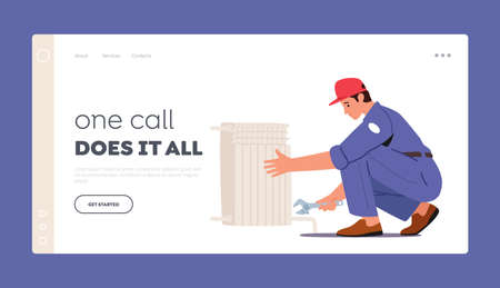 Plumbers Service Landing Page Template. . Worker Character with Spanner Tools Repairing Heating Pipes, Installing Tubes